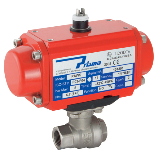 Pneumatic Actuated Stainless Steel 2 Piece, 2 Way Ball Valves