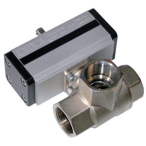Brass Ball Valves, 3 Way L Port Pneumatic Actuation, Low Pressure