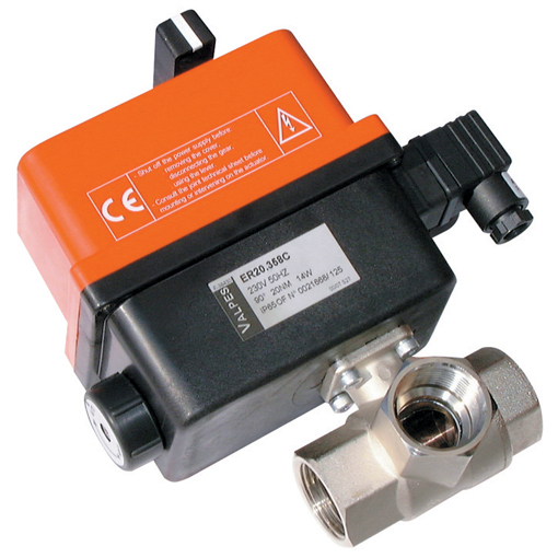 Electrically Actuated, 3 Way L Ported Brass Ball Valves